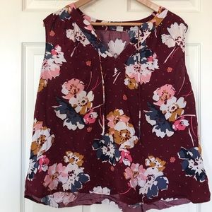 Burgundy floral blouse